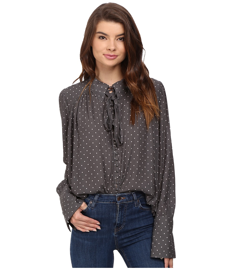 Free People - Modern Muse Top (Grey) Women's Long Sleeve Button Up