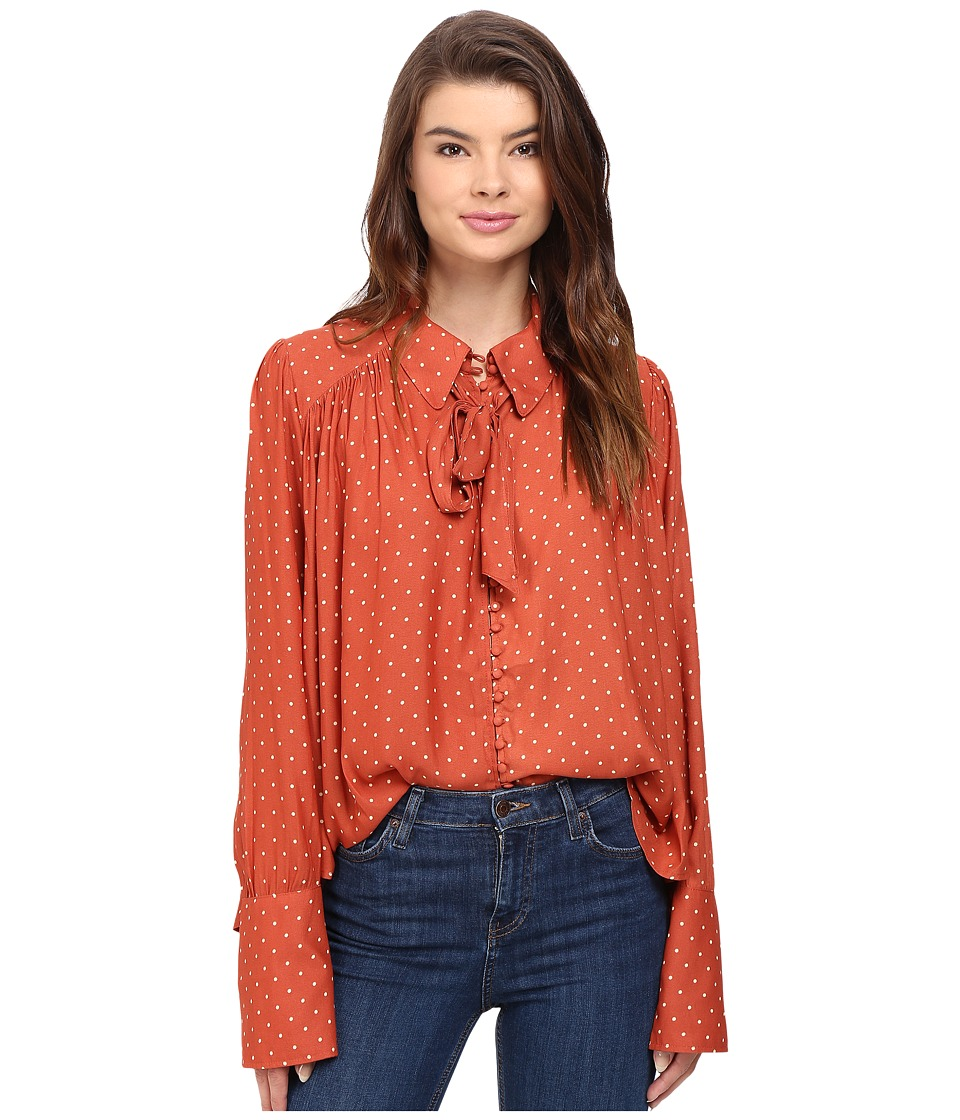 Free People - Modern Muse Top (Terracotta) Women's Long Sleeve Button Up