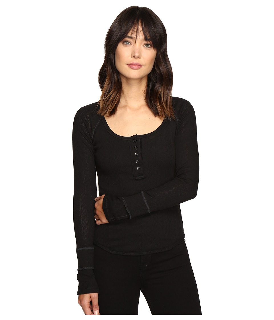 Free People - Sugar and Spice Henley (Black) Women's Clothing