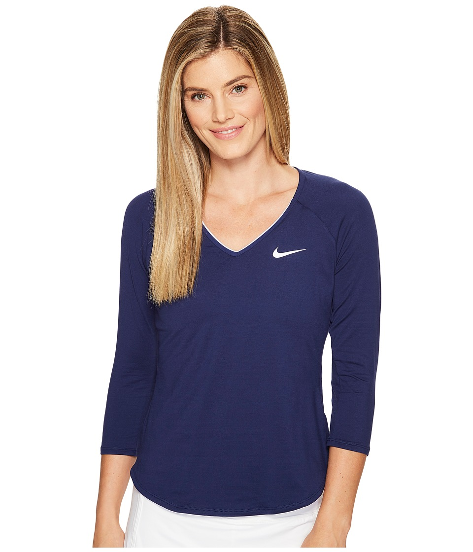 Nike - Court Pure Tennis Top (Binary Blue/White) Women's Long Sleeve Pullover