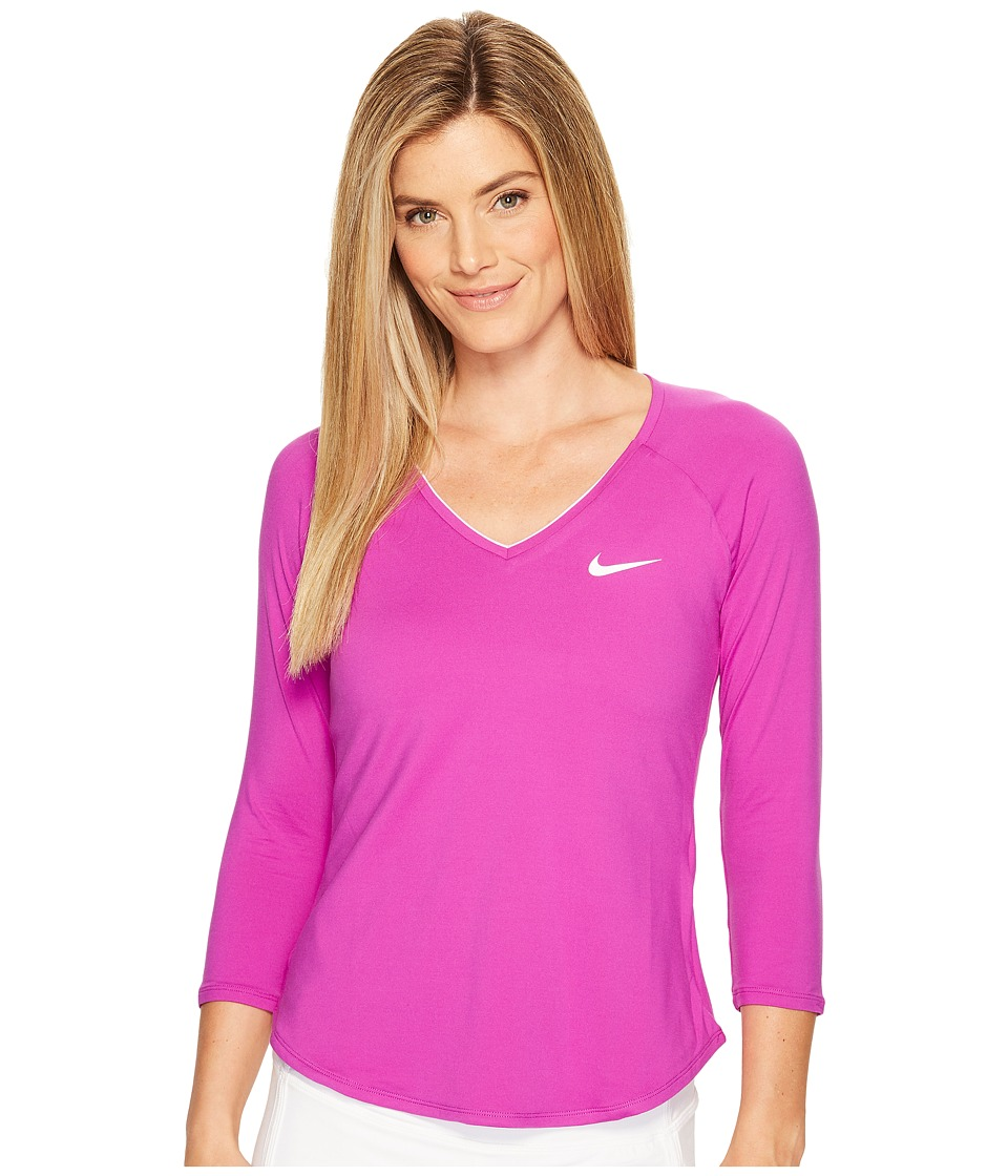 Nike - Court Pure Tennis Top (Vivid Purple/White) Women's Long Sleeve Pullover