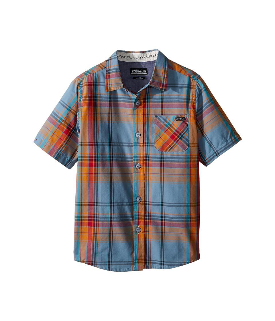 O'Neill Kids - Emporium Plaid Short Sleeve Shirt (Little Kids) (Blue) Boy's Short Sleeve Button Up