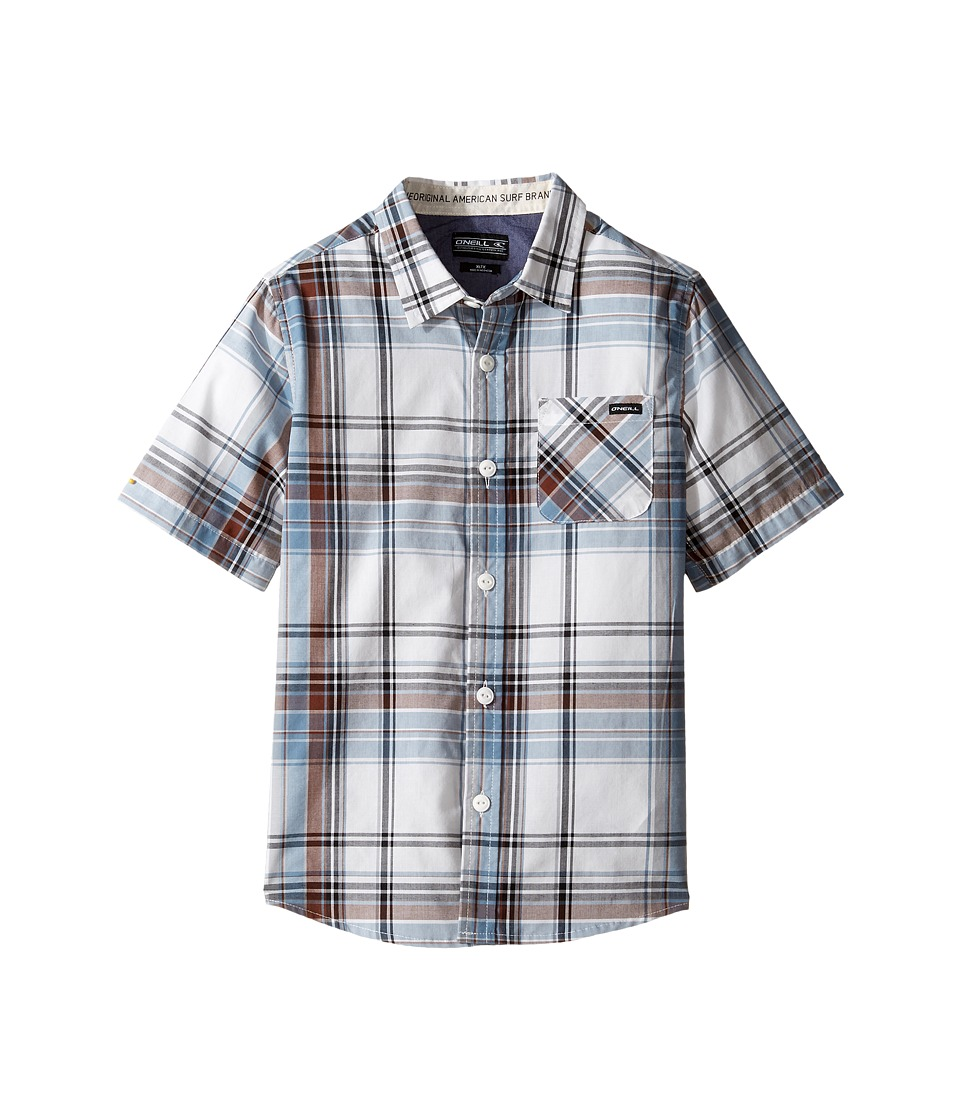 O'Neill Kids - Emporium Plaid Short Sleeve Shirt (Little Kids) (White) Boy's Short Sleeve Button Up
