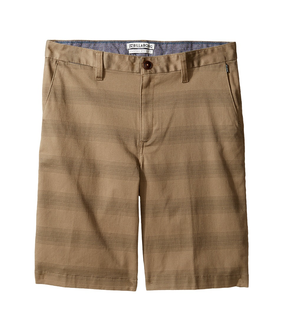 Billabong Kids - Carter Stretch Stripe Shorts (Big Kids) (Dark Khaki) Boy's Shorts