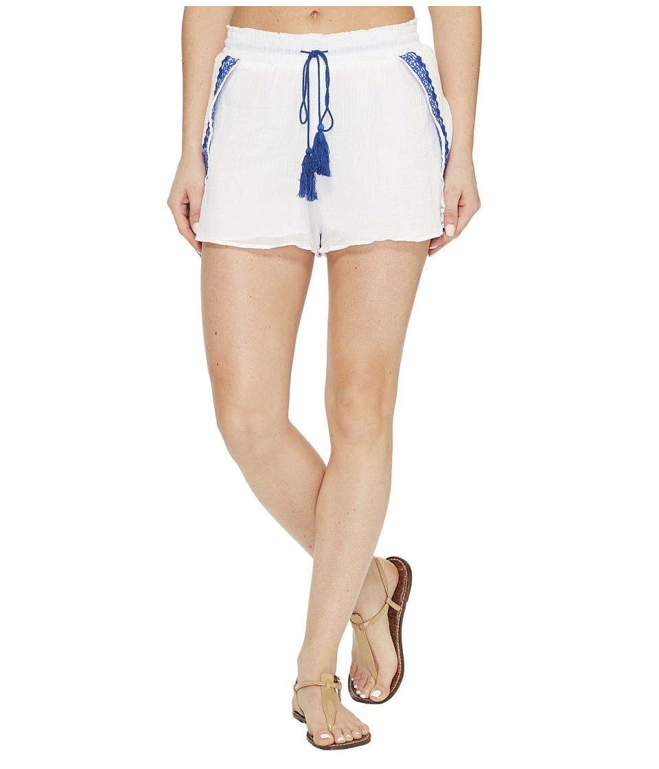 Vitamin A Swimwear - Capri Petal Short Cover-Up (Trade Winds Embroidered Gauze) Women's Swimwear