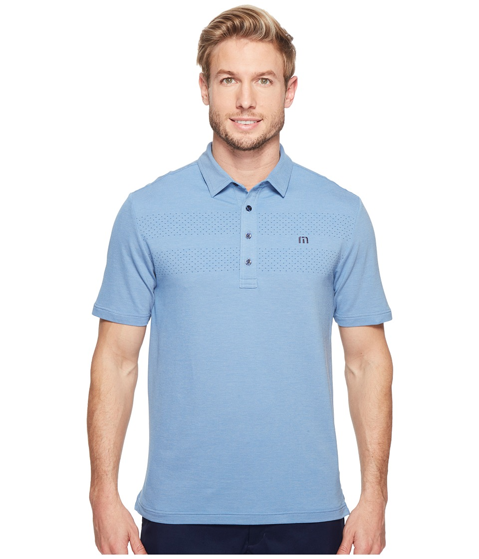 TravisMathew - Aleman Polo (Alloy/Vallarta Blue) Men's Clothing
