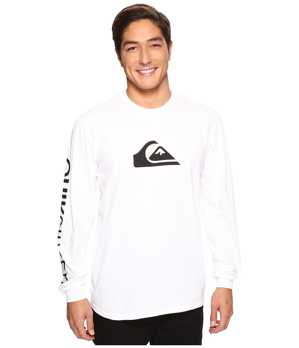 Quiksilver - Mountain Wave Logo Long Sleeve Tee (White) Men's Long Sleeve Pullover