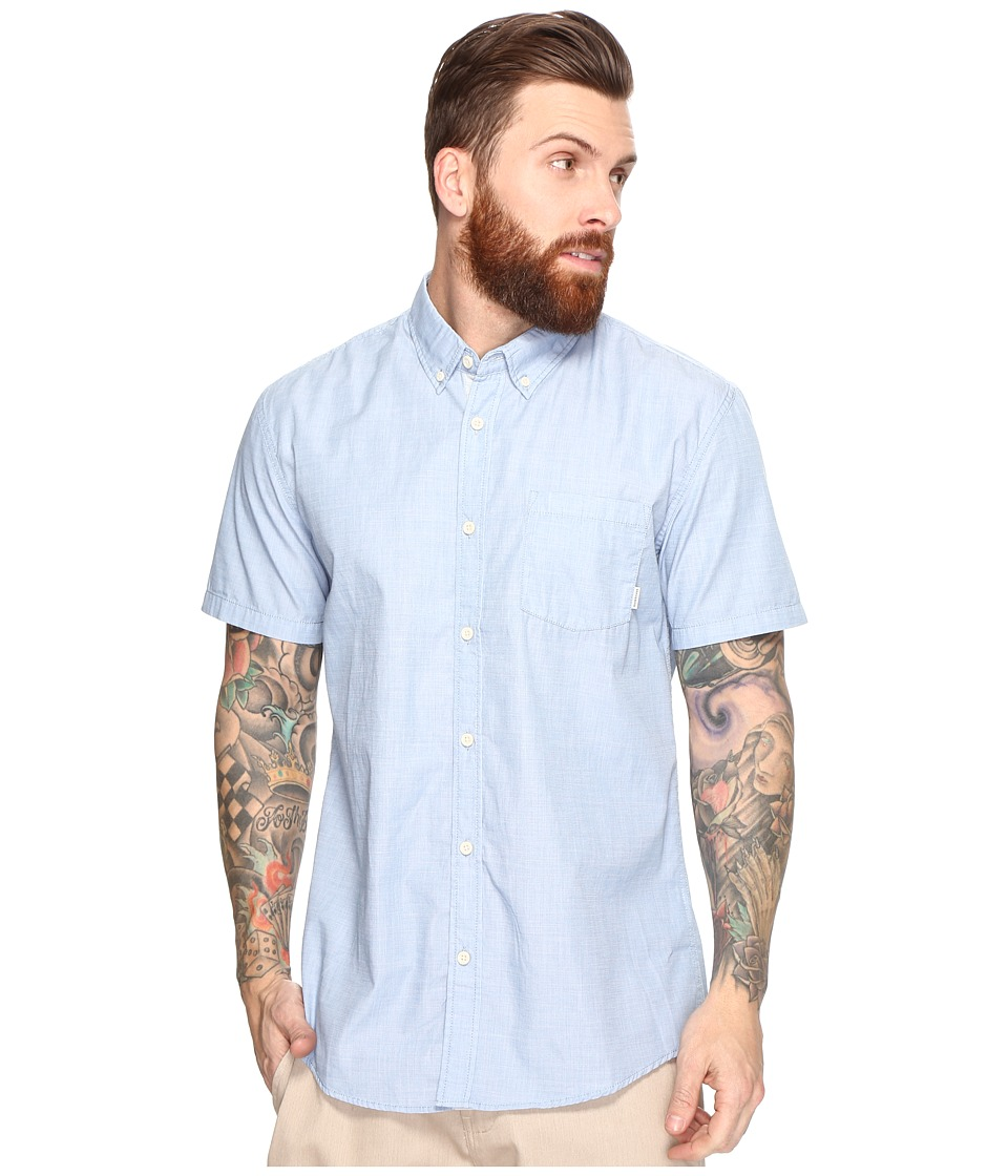Quiksilver - Everyday Wilsden Short Sleeve Woven (Vallarta Blue) Men's Clothing