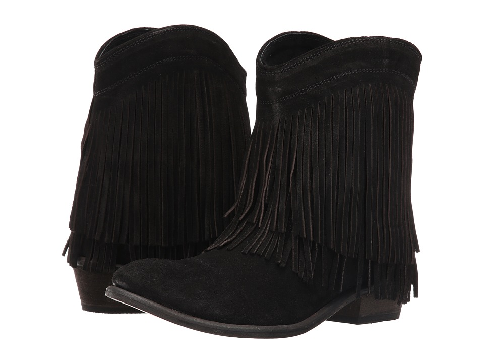 Roper Fringe Shorty (Black Suede) Cowboy Boots
