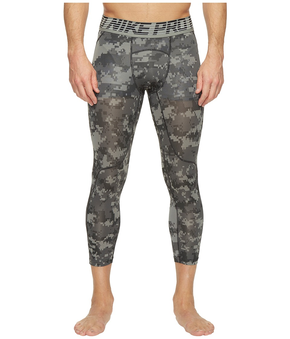 Nike - Pro Hypercool Printed Tight (Tumbled Grey/Black/Black) Men's Casual Pants