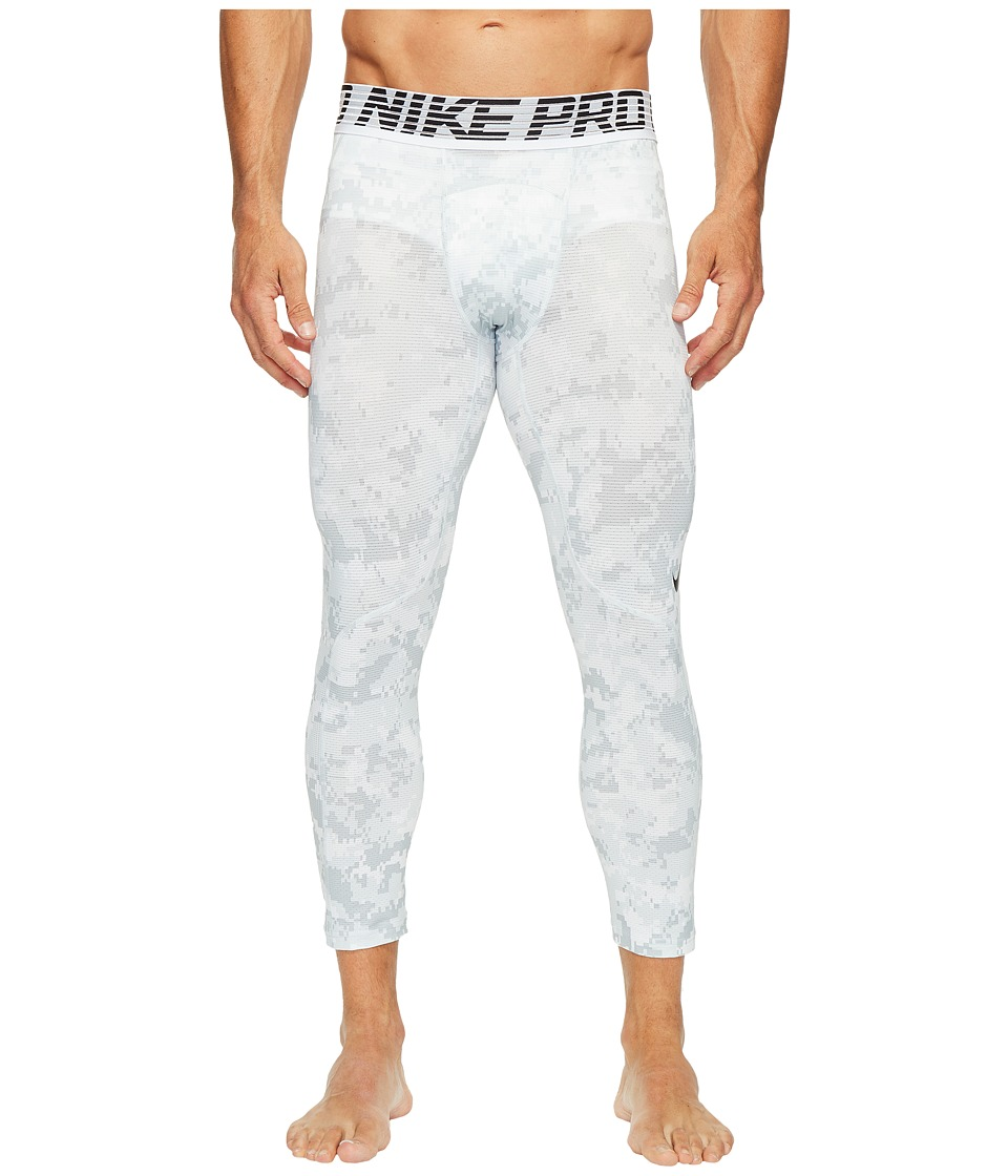 Nike - Pro Hypercool Printed Tight (White/Pure Platinum/Black) Men's Casual Pants