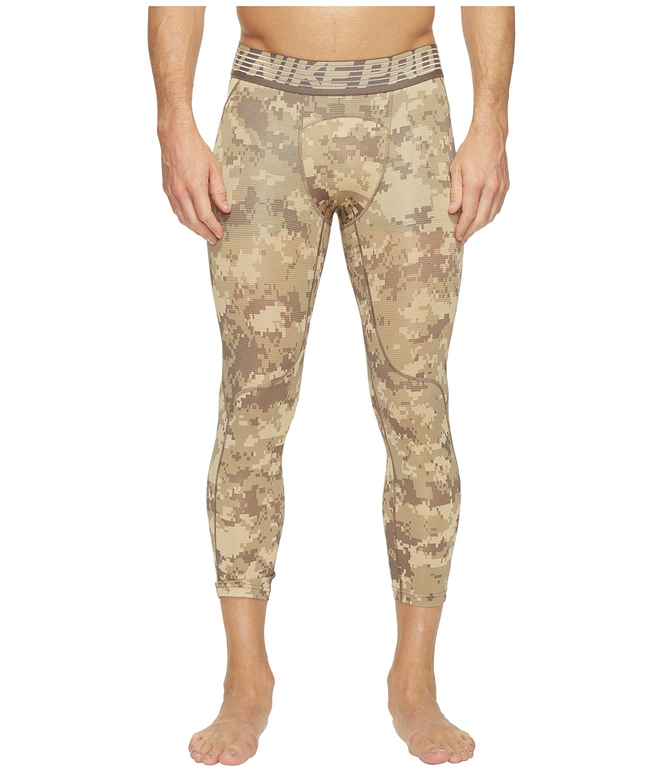 Nike - Pro Hypercool Printed Tight (Khaki/Linen/Black) Men's Casual Pants