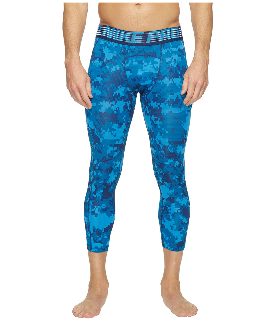 Nike - Pro Hypercool Printed Tight (Industrial Blue/Light Photo Blue/Black) Men's Casual Pants