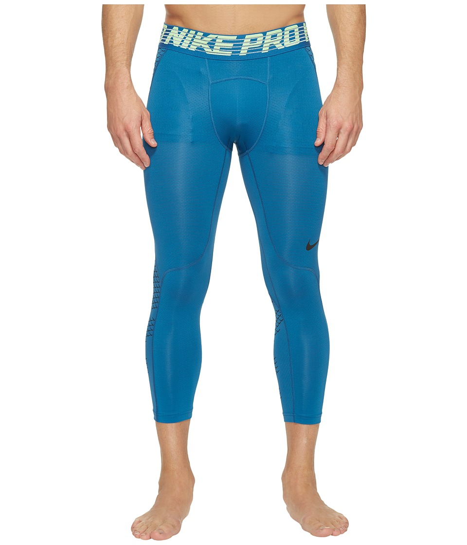 Nike - Pro Hypercool 3/4 Training Tight (Industrial Blue/Ghost Green/Black) Men's Casual Pants