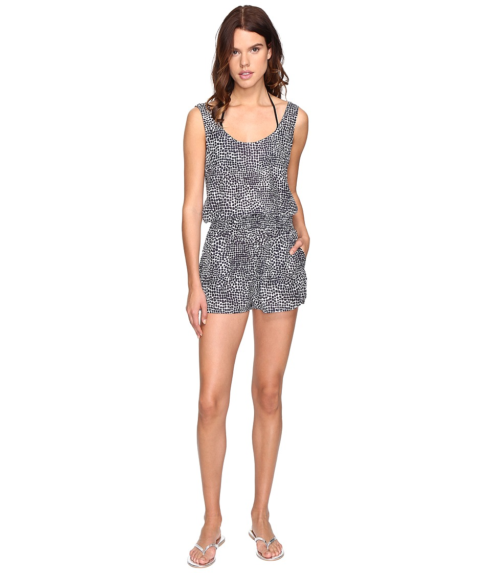 Stella McCartney - Mixed Animal and Elastic All-In-One Romper Cover-Up (Midnight Blue Leopard/Giraffe Print) Women's Jumpsuit & Rompers One Piece