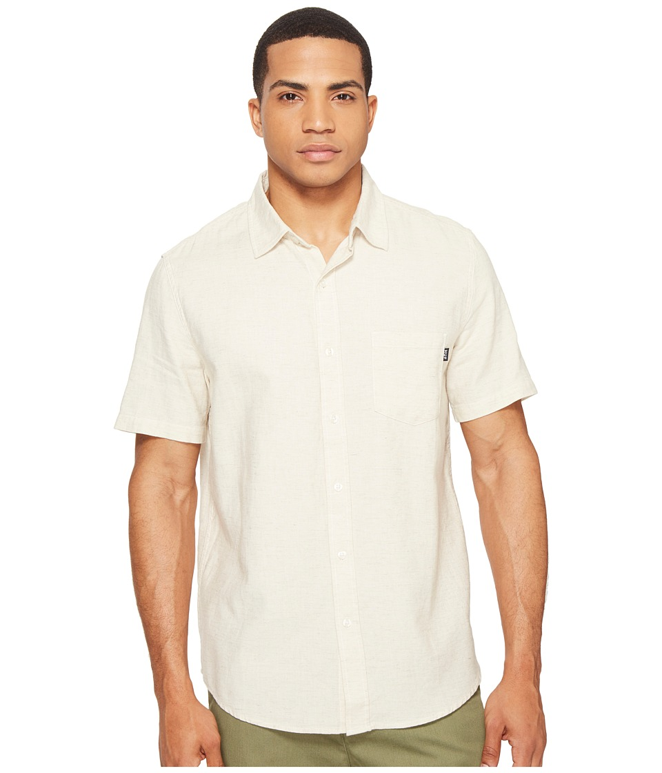 HUF - Course Short Sleeve Chambray Shirt (Natural) Men's Clothing