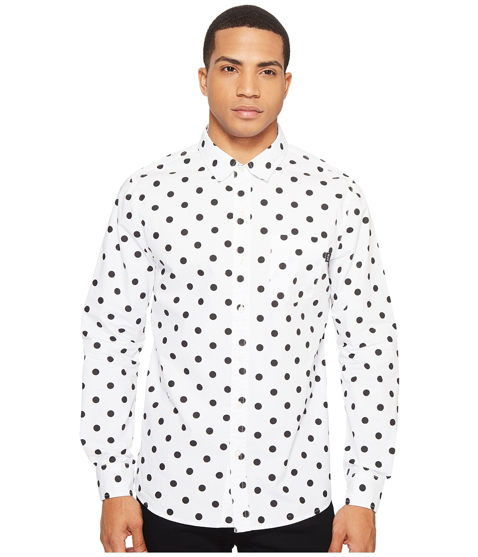 HUF - Bob Long Sleeve Shirt (White/Black) Men's Clothing