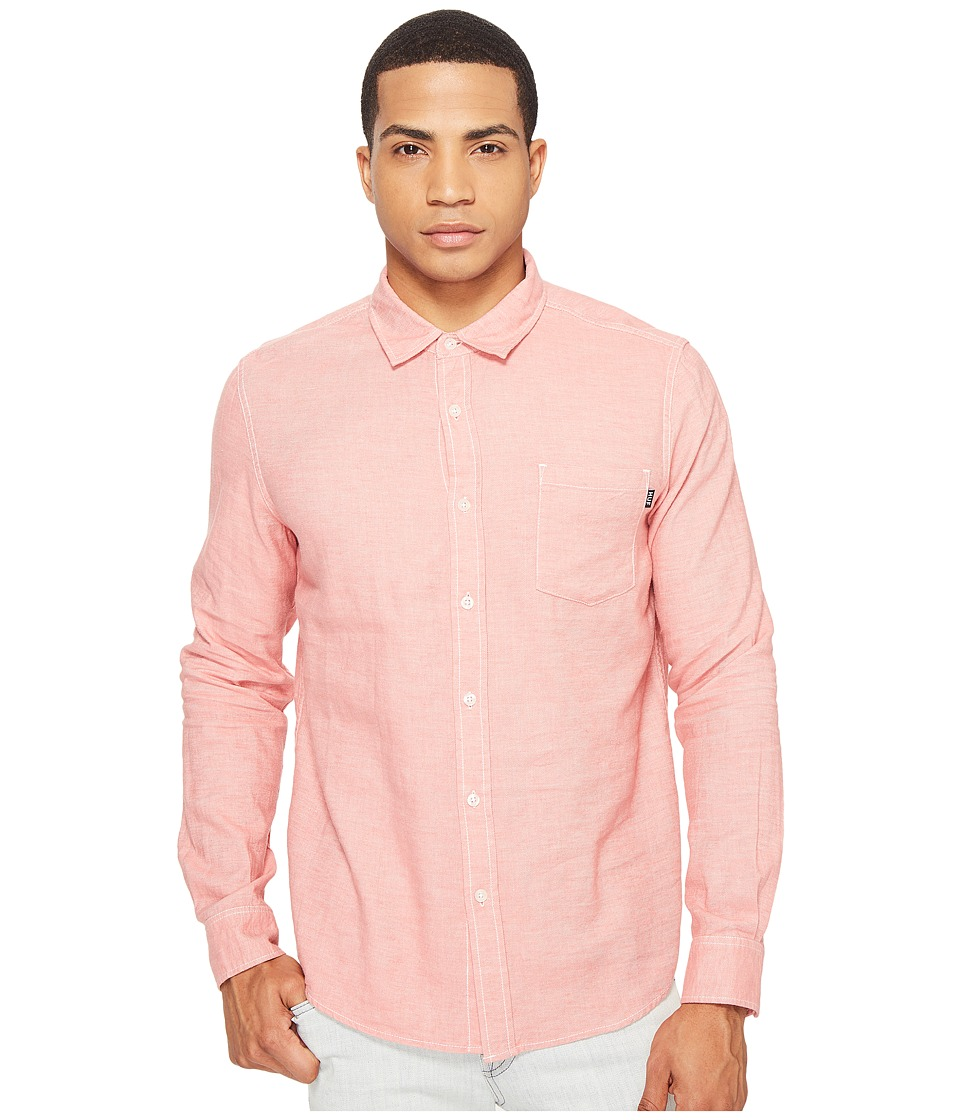 HUF - Course Long Sleeve Chambray Shirt (Pink) Men's Clothing