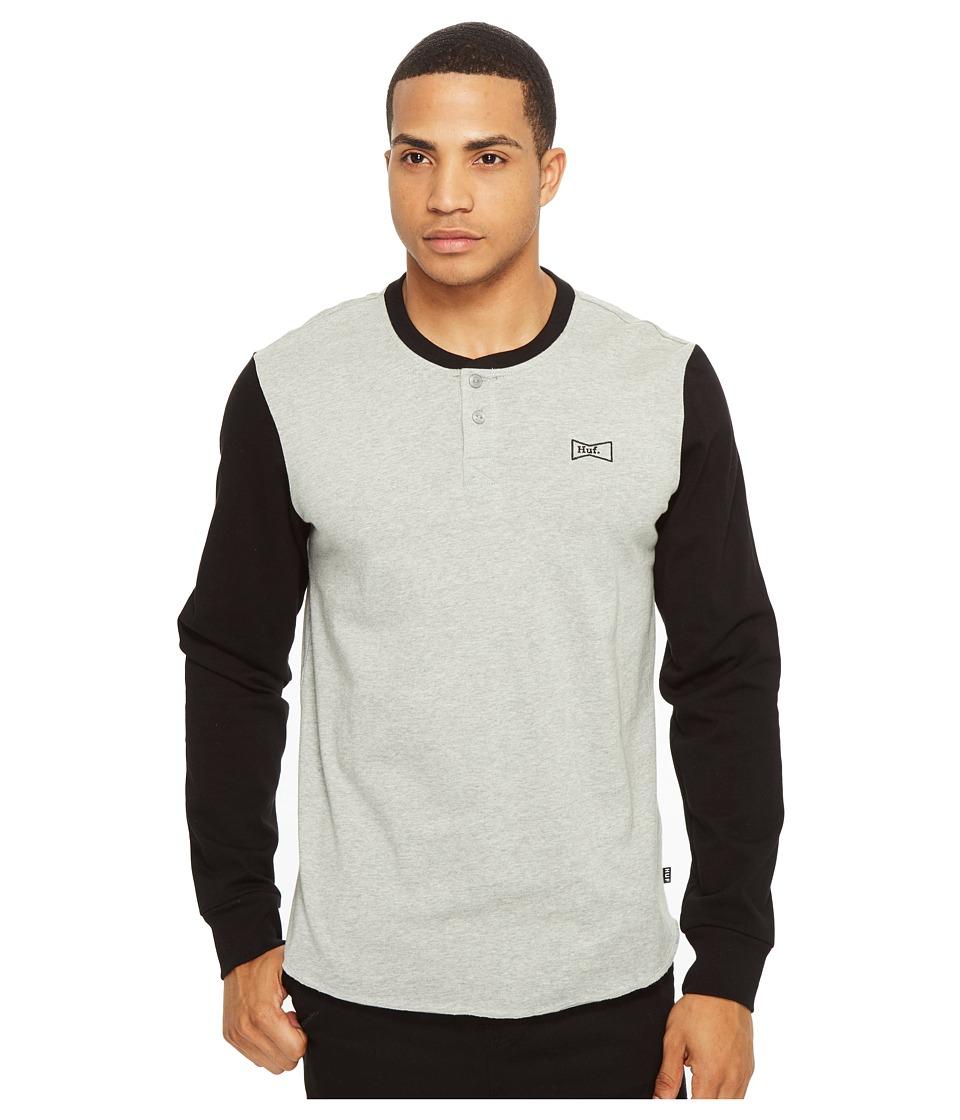 HUF - Clubber Henley (Black/Grey Heather) Men's Clothing