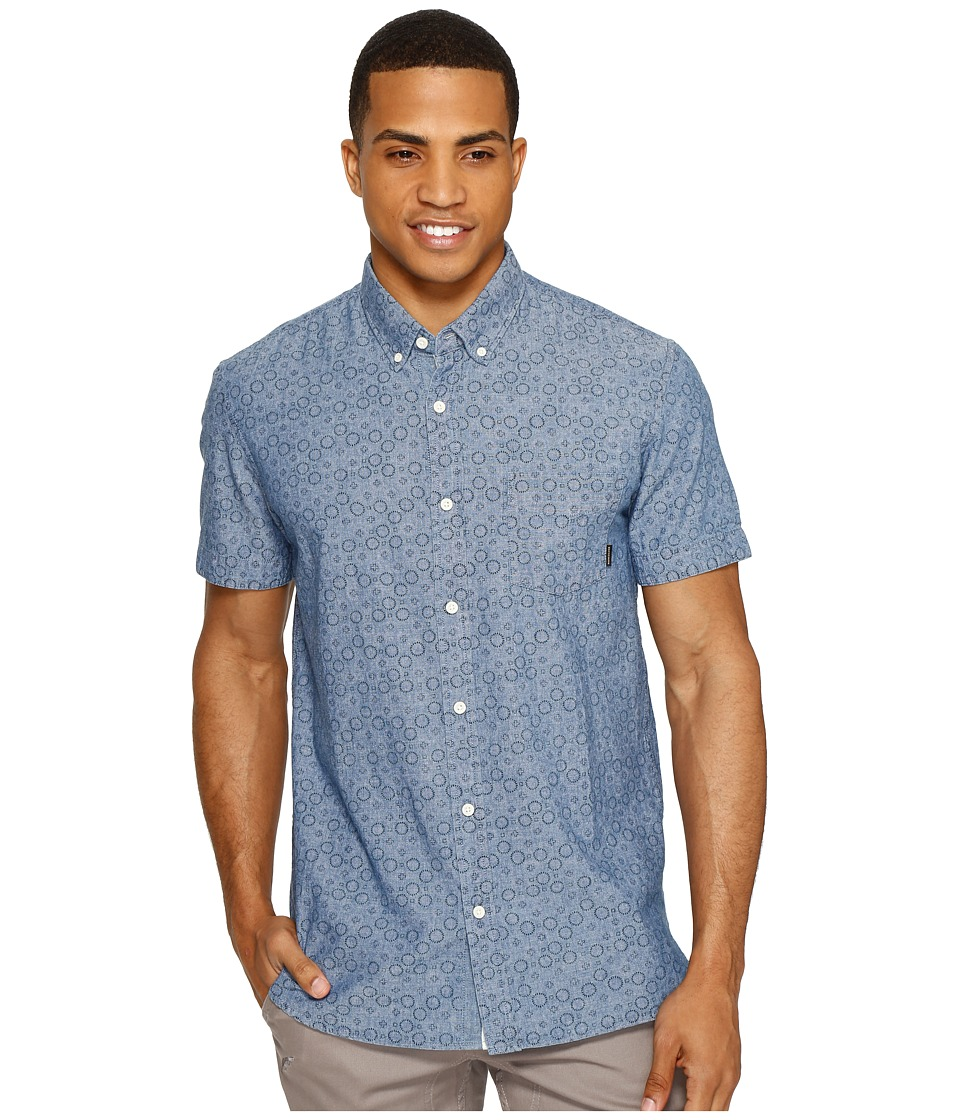 Quiksilver - Spectrum Rip Short Sleeve Woven (Indigo Spectrum Rips) Men's Short Sleeve Pullover