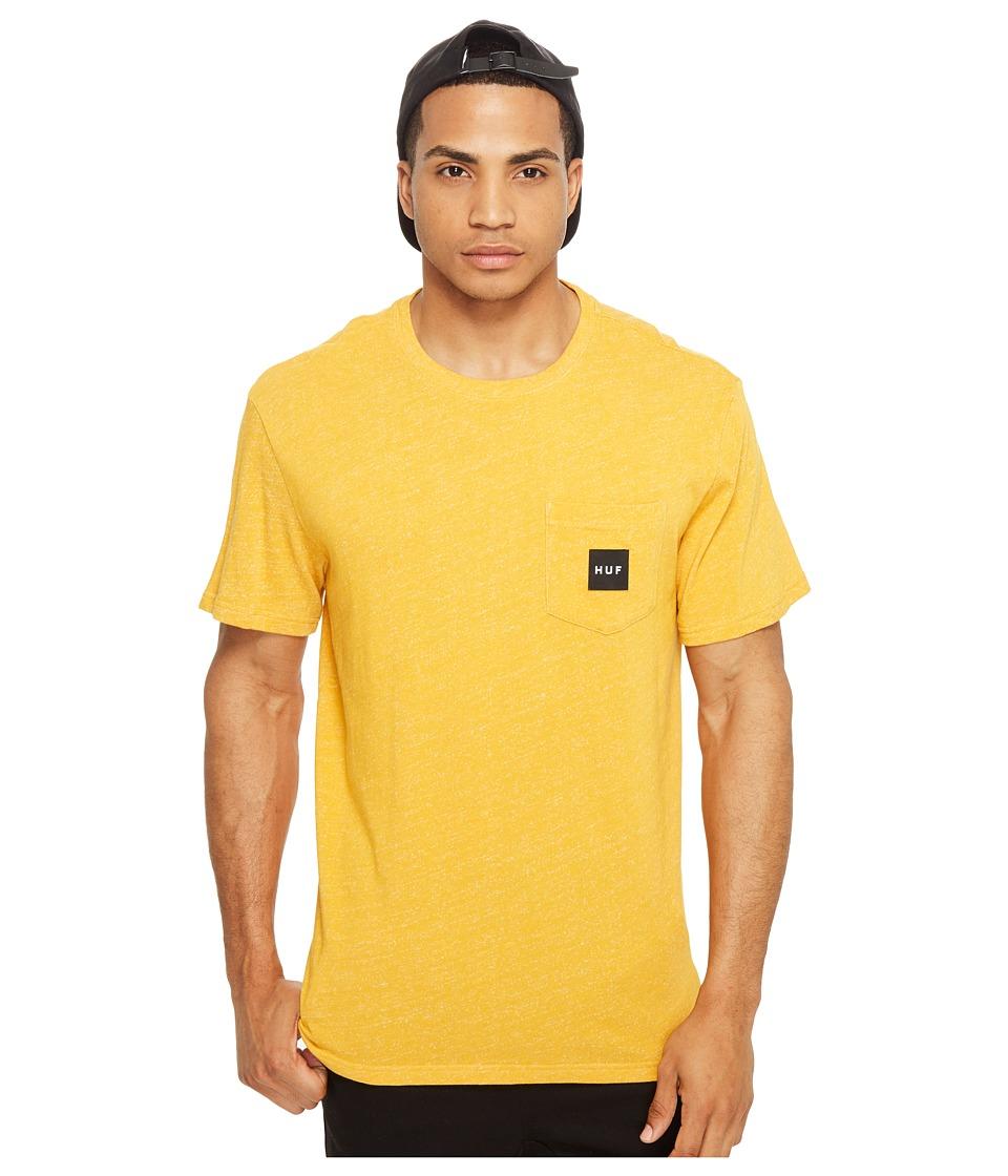 HUF - Heather Box Logo Pocket Tee (Mustard) Men's T Shirt