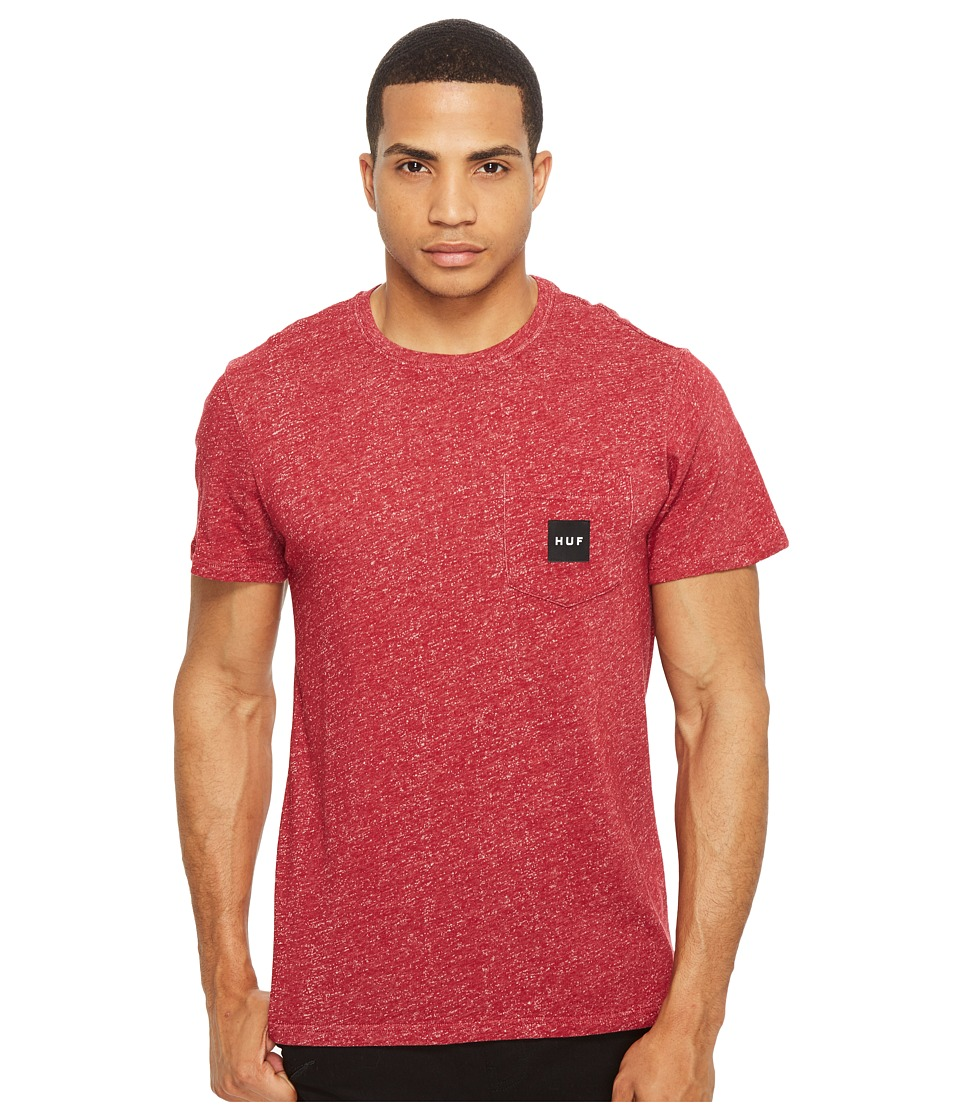 HUF - Heather Box Logo Pocket Tee (Red) Men's T Shirt