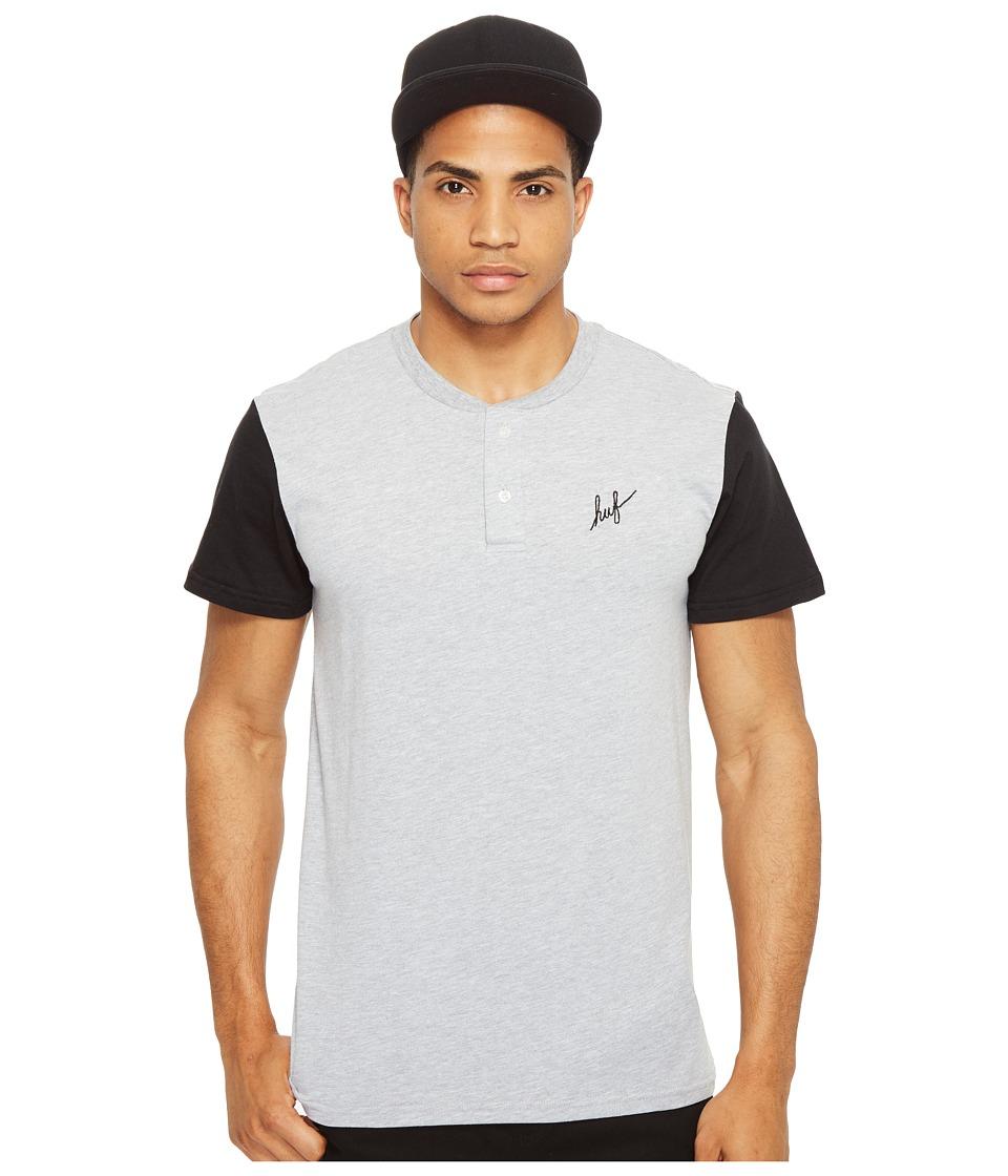 HUF - Script Henley (Athletic Heather/Black) Men's T Shirt