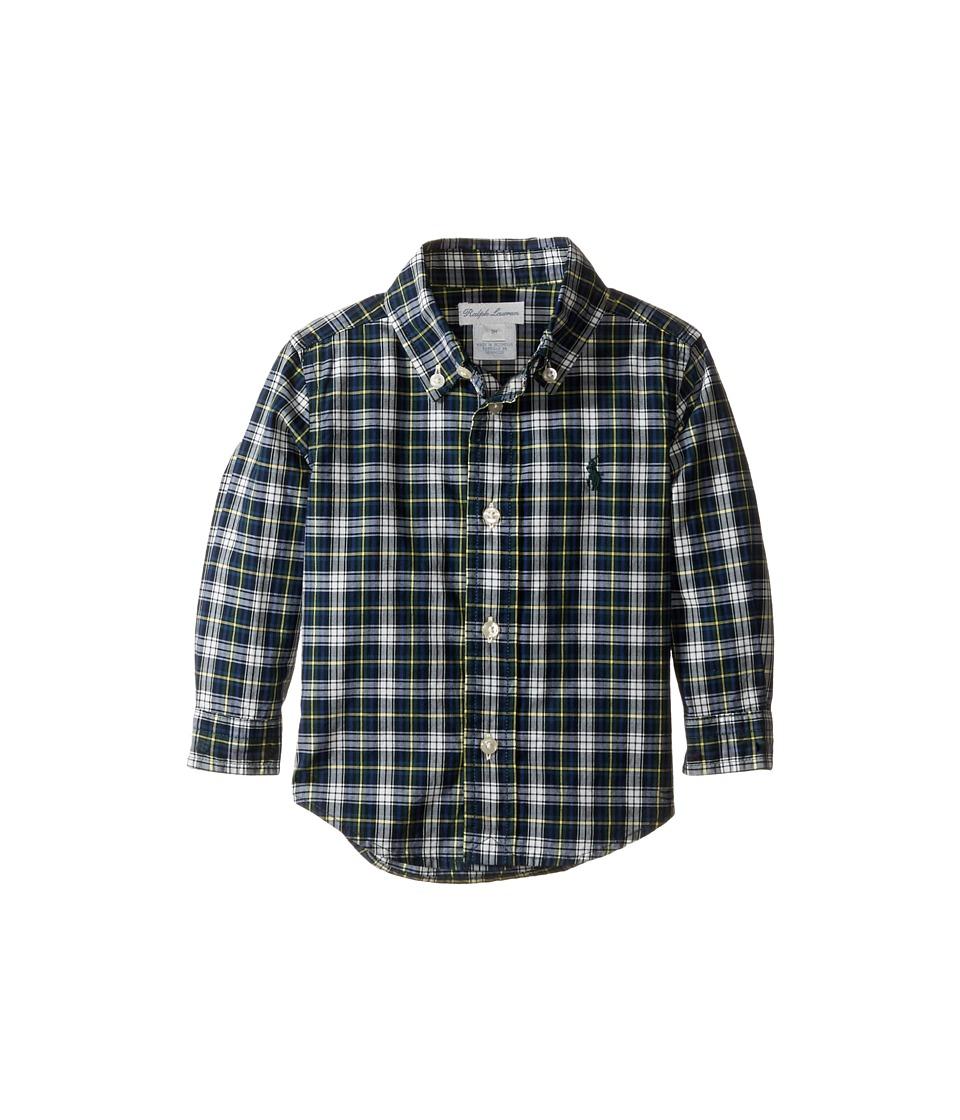 Ralph Lauren Baby - Poplin Long Sleeve Button Down Shirt (Infant) (Green/White Multi) Boy's T Shirt