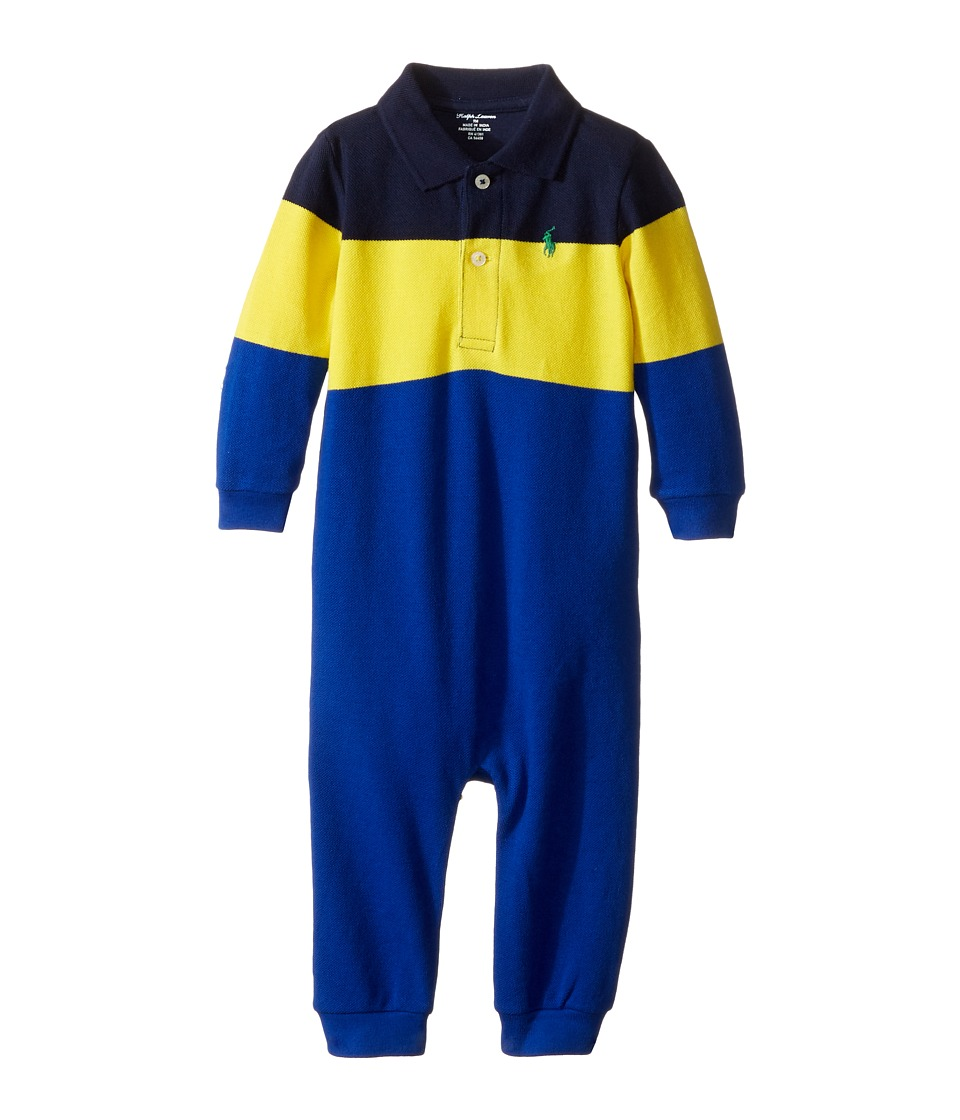Ralph Lauren Baby - Yarn-Dyed Mesh Polo One-Piece Coveralls (Infant) (French Navy) Boy's Overalls One Piece