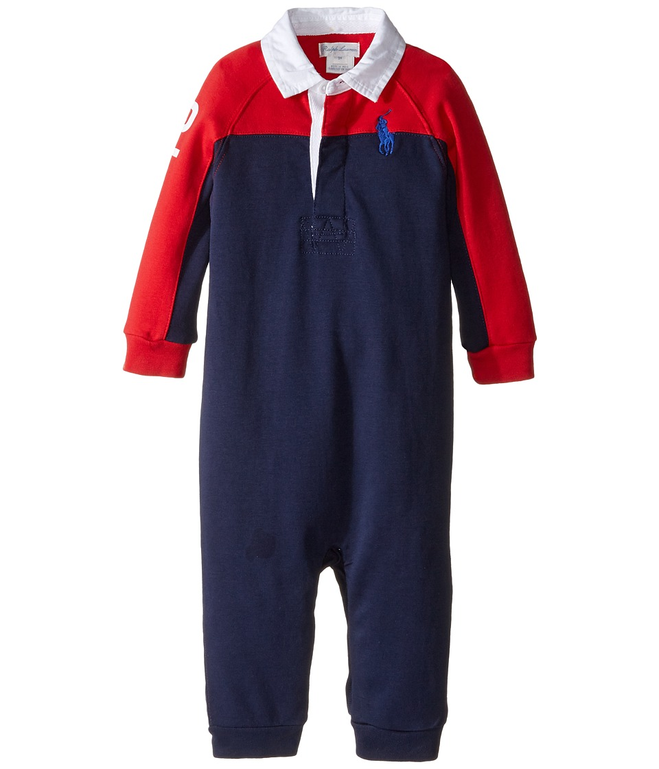 Ralph Lauren Baby - Interlock Color Block One-Piece Coveralls (Infant) (Cruise Red) Boy's Overalls One Piece