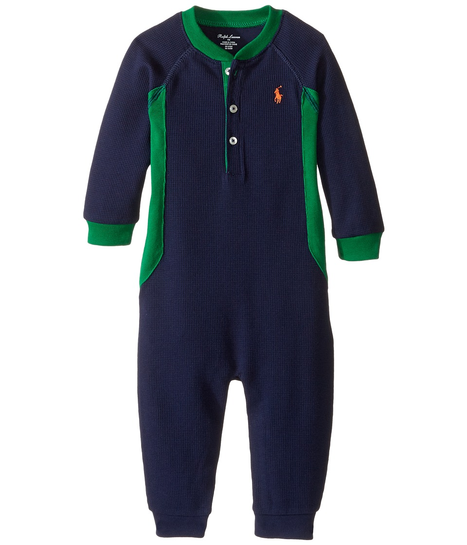 Ralph Lauren Baby - Cotton Poly Waffle Henley One-Piece Coveralls (Infant) (French Navy) Boy's Overalls One Piece