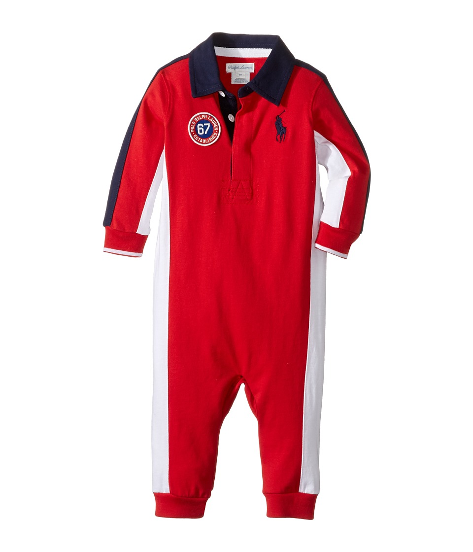 Ralph Lauren Baby - Jersey Rugby One-Piece Coveralls (Infant) (Cruise Red) Boy's Overalls One Piece