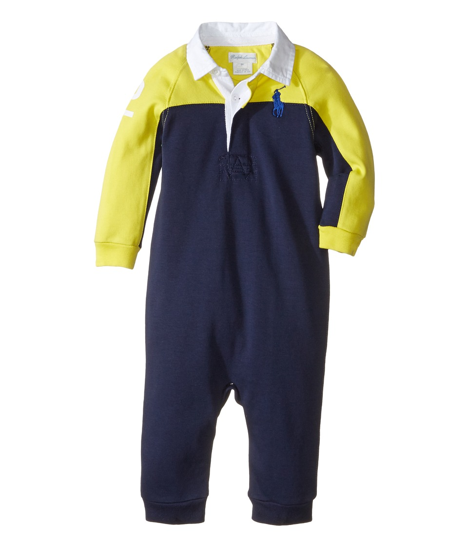 Ralph Lauren Baby - Interlock Color Block One-Piece Coveralls (Infant) (Active Yellow) Boy's Overalls One Piece