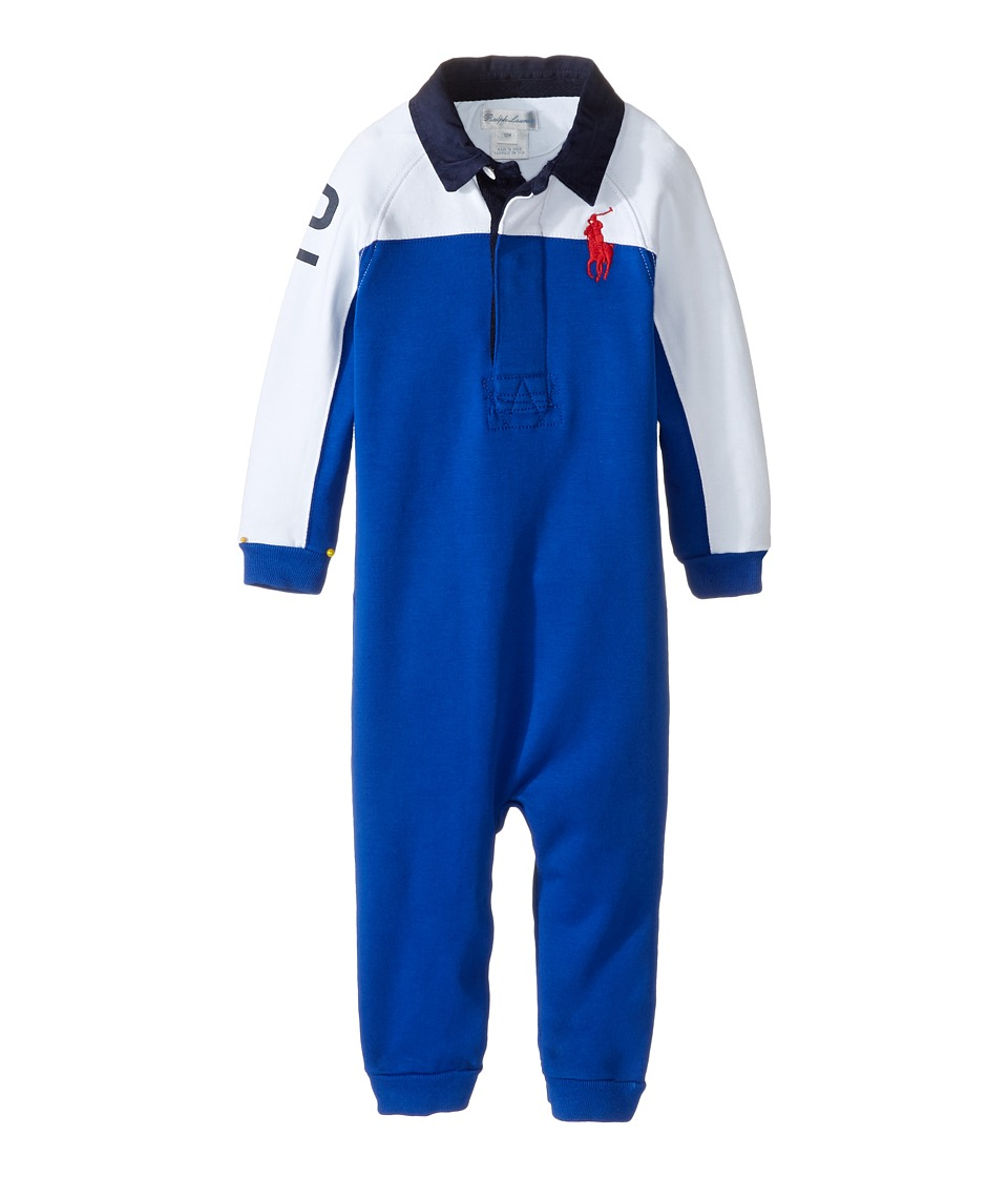 Ralph Lauren Baby - Interlock Color Block One-Piece Coveralls (Infant) (Sapphire Star) Boy's Overalls One Piece