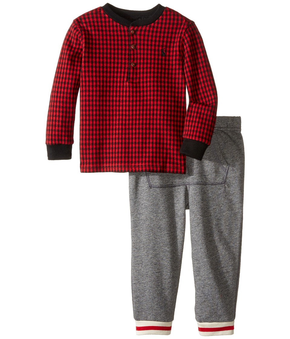 Ralph Lauren Baby - Cotton Terry Jogger Pants Set (Infant) (Cruise Red) Boy's Active Sets