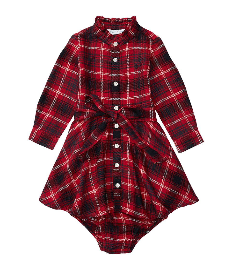 Ralph Lauren Baby - Summer Flannel Shirtdress (Infant) (Red/Black Multi) Girl's Dress