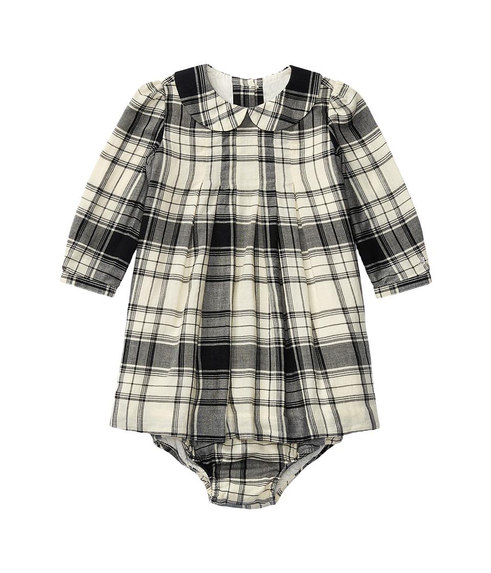 Ralph Lauren Baby - Yarn-Dyed Cotton Gauze Pintuck Dress (Infant) (Cream/Black Multi) Girl's Dress