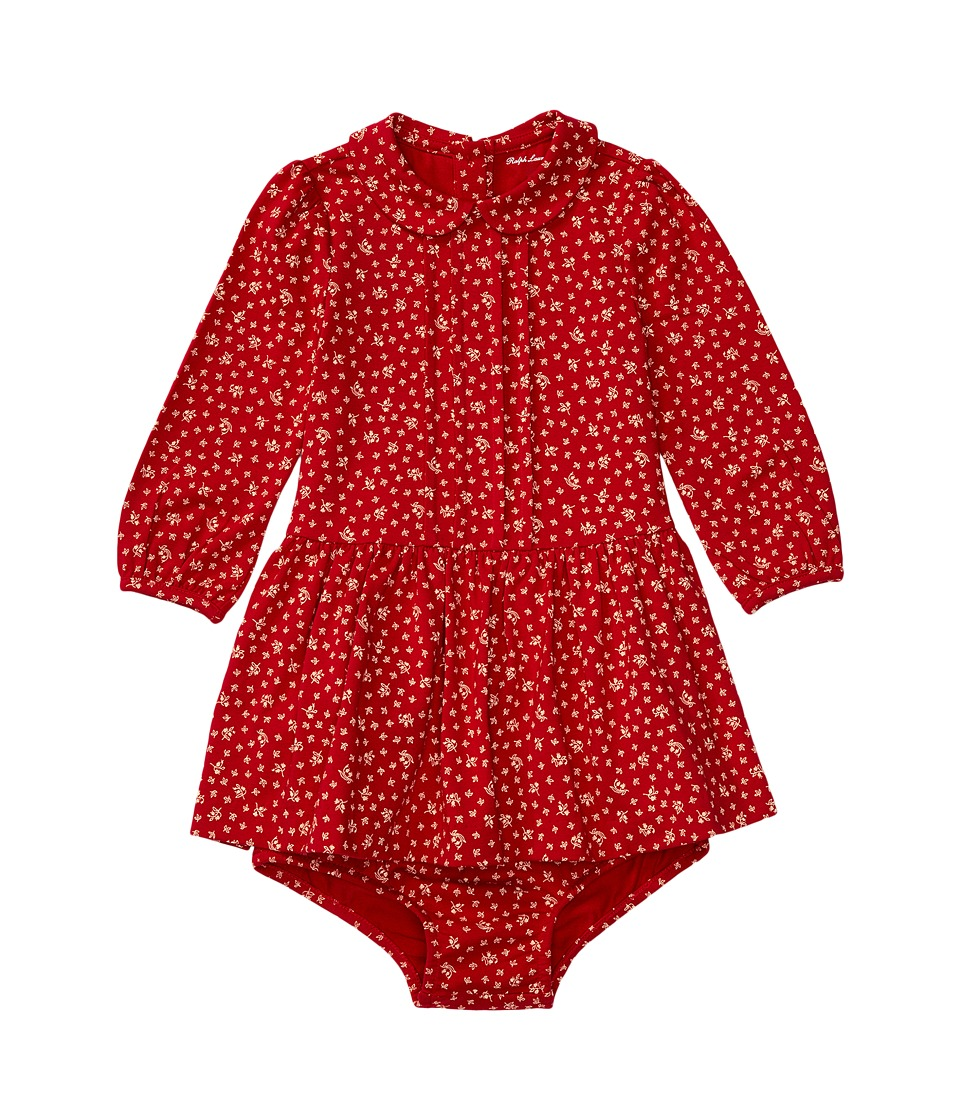 Ralph Lauren Baby - Modal Jersey Pintuck Dress (Infant) (Red/Cream) Girl's Dress