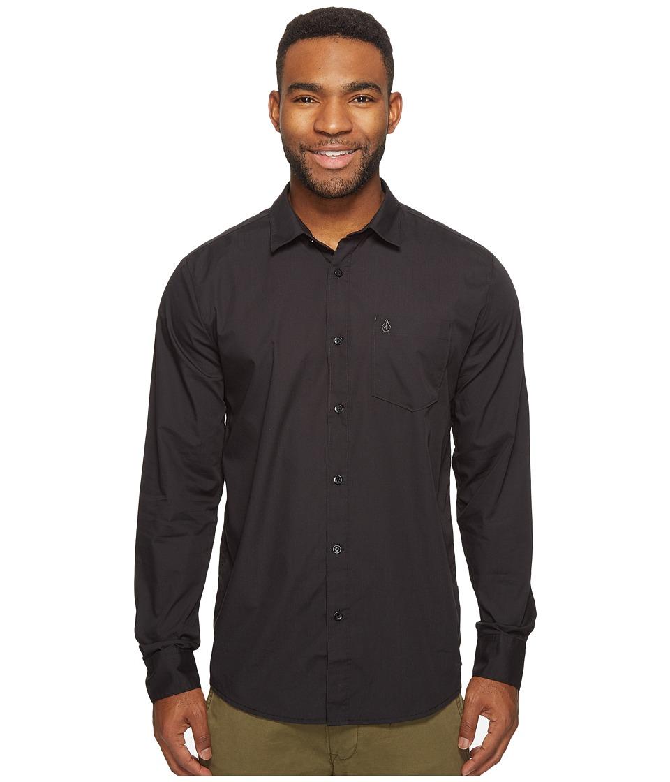 Volcom - Everett Solid Long Sleeve Woven (Black) Men's Long Sleeve Pullover