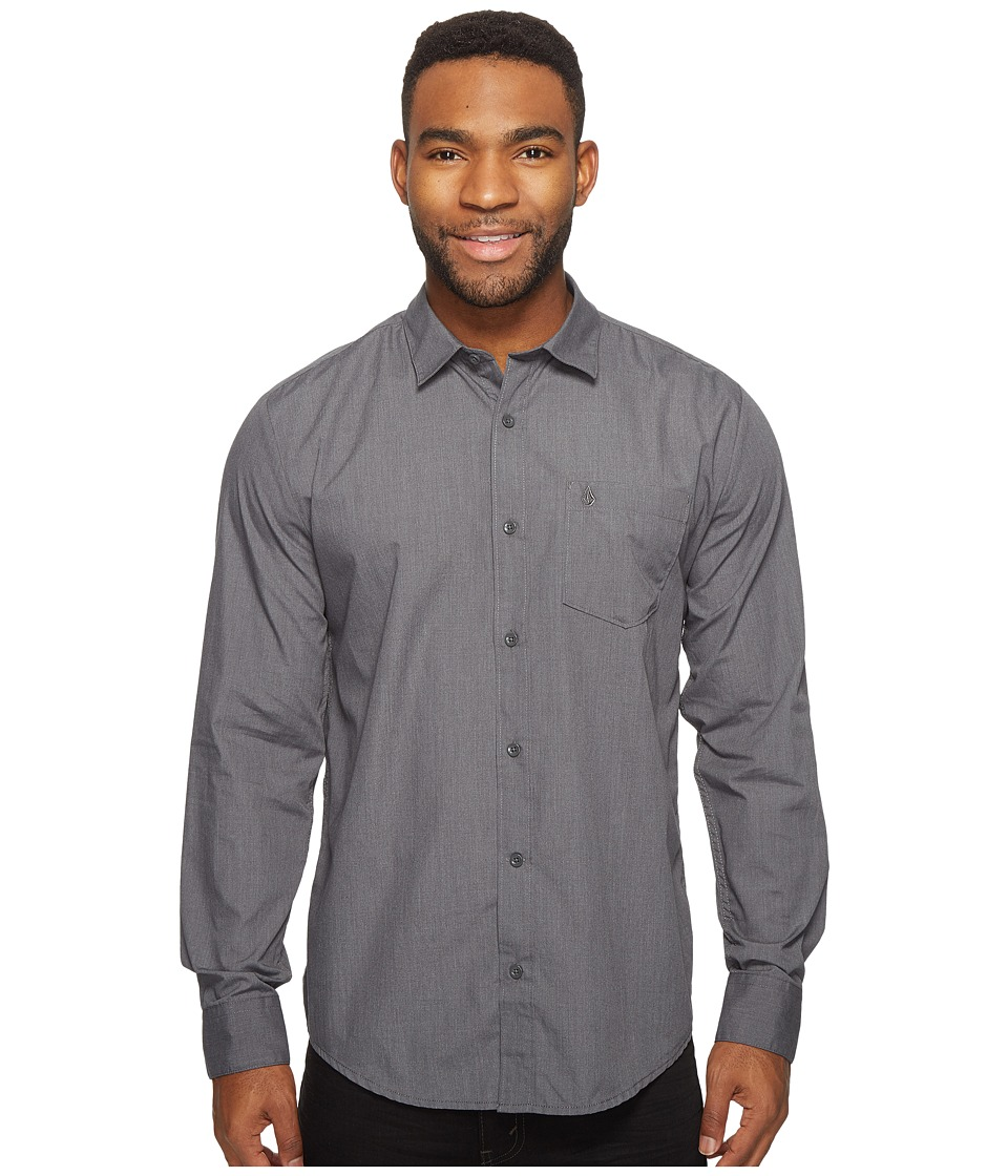 Volcom - Everett Solid Long Sleeve Woven (Asphalt Black) Men's Long Sleeve Pullover