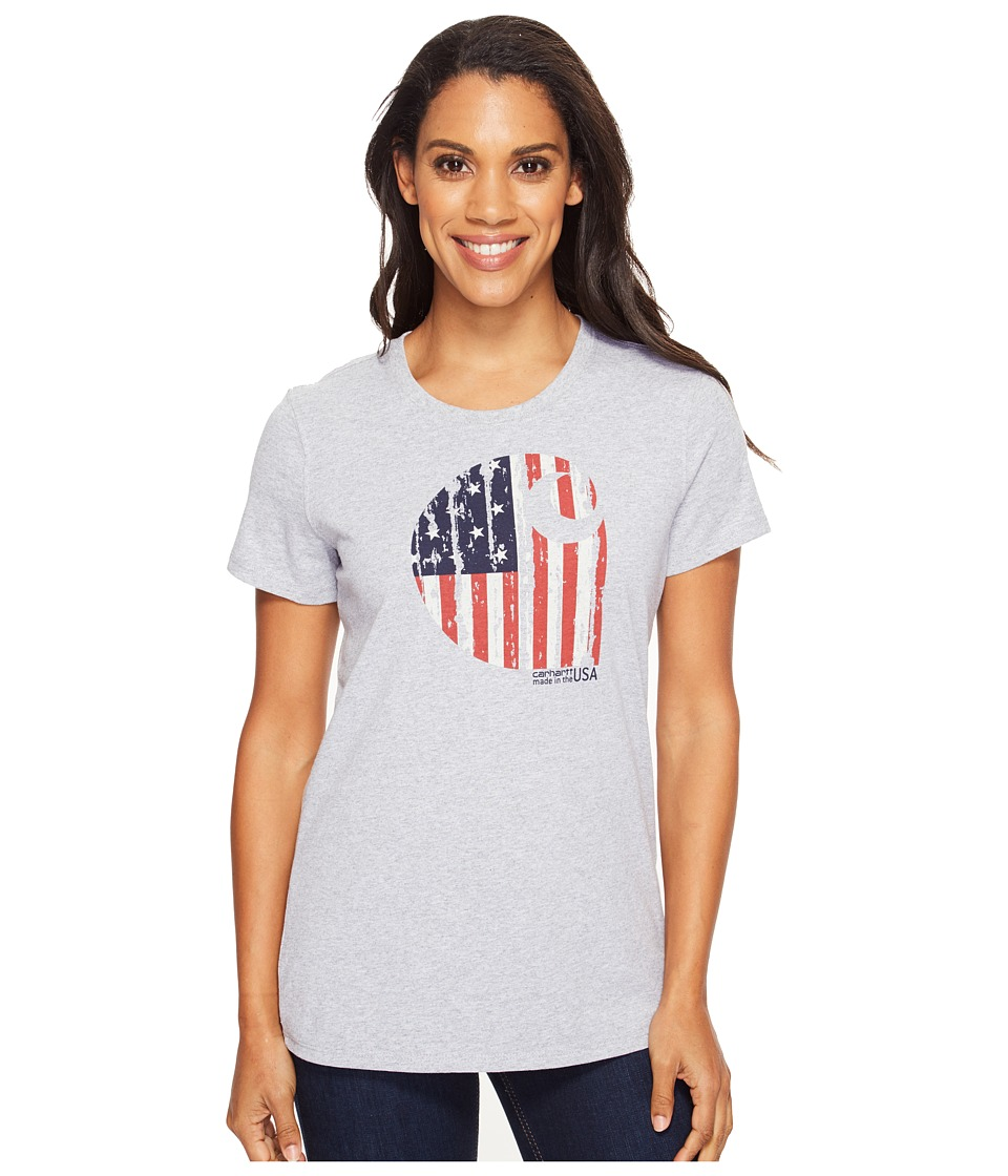 Carhartt - Lubbock Graphic American Branded C Short Sleeve Shirt (Heather Grey) Women's T Shirt