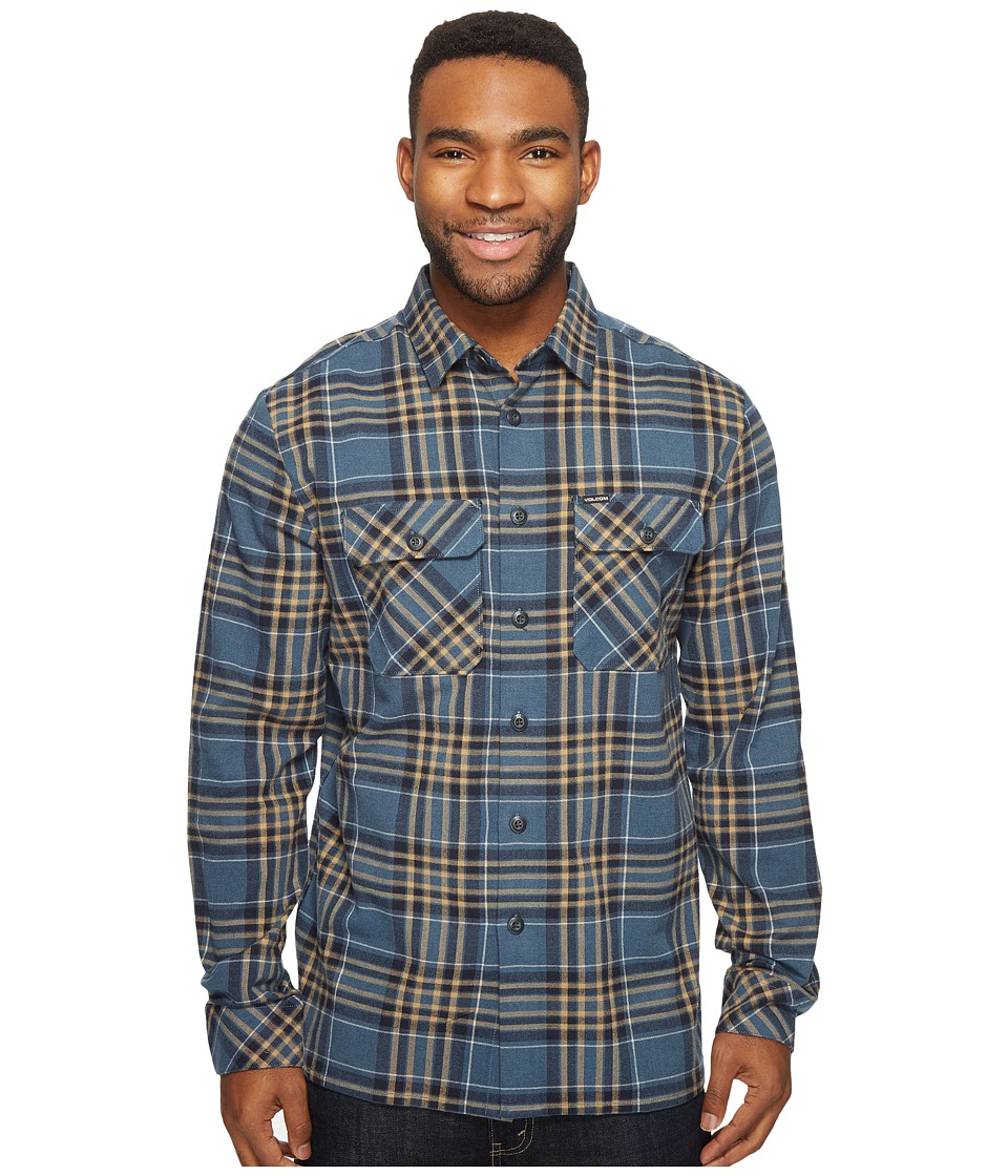 Volcom - Jasper Long Sleeve Heavyweight Flannel (Air Force Blue) Men's Clothing