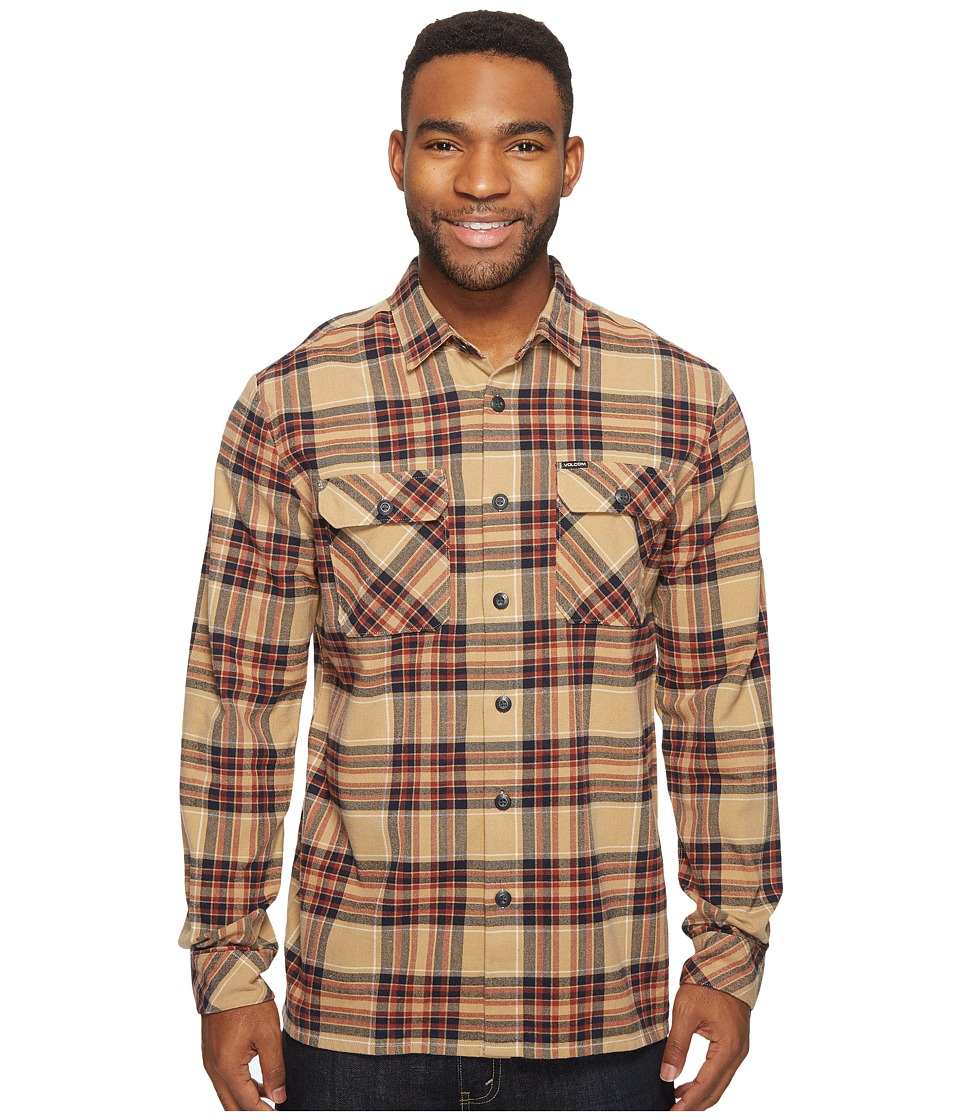 Volcom - Jasper Long Sleeve Heavyweight Flannel (Gravel) Men's Clothing
