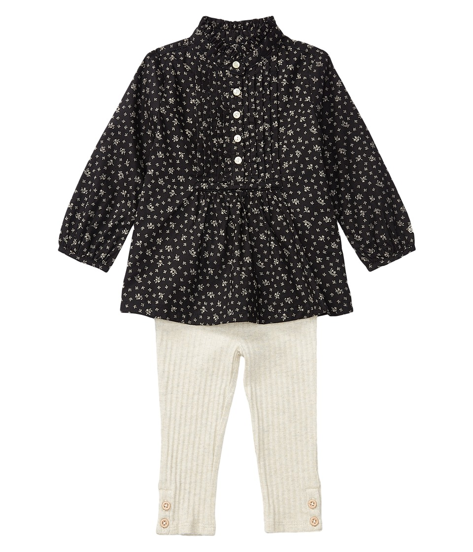 Ralph Lauren Baby - Cotton Gauze Leggings Set (Infant) (Black/Cream) Girl's Active Sets