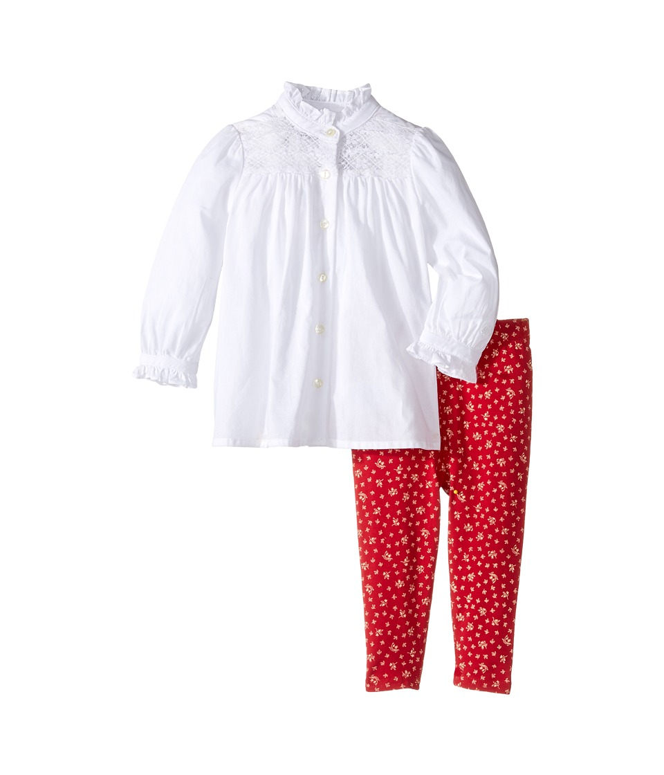 Ralph Lauren Baby - Batisite Cotton Jersey Floral Leggings Set (Infant) (Red/Cream Multi) Girl's Active Sets