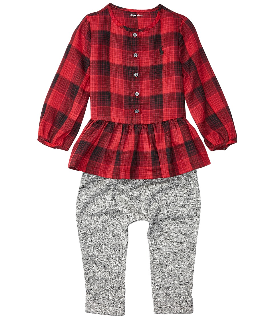 Ralph Lauren Baby - Yarn-Dyed Cotton Gauze Peplum Pants Set (Infant) (Red/Black) Girl's Active Sets