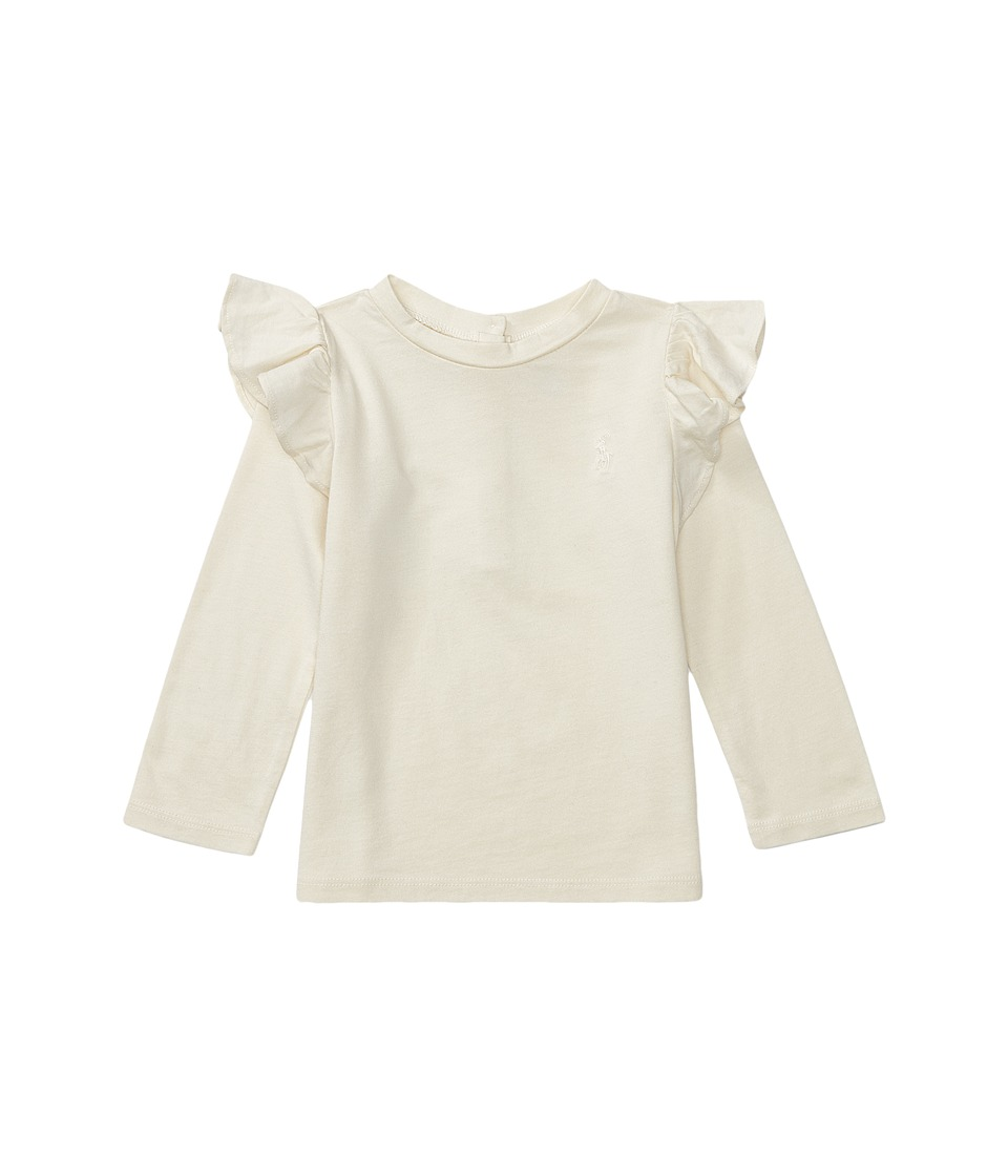 Ralph Lauren Baby - Cotton Jersey Ruffle Knit Top (Infant) (Herbal Milk) Girl's Long Sleeve Pullover