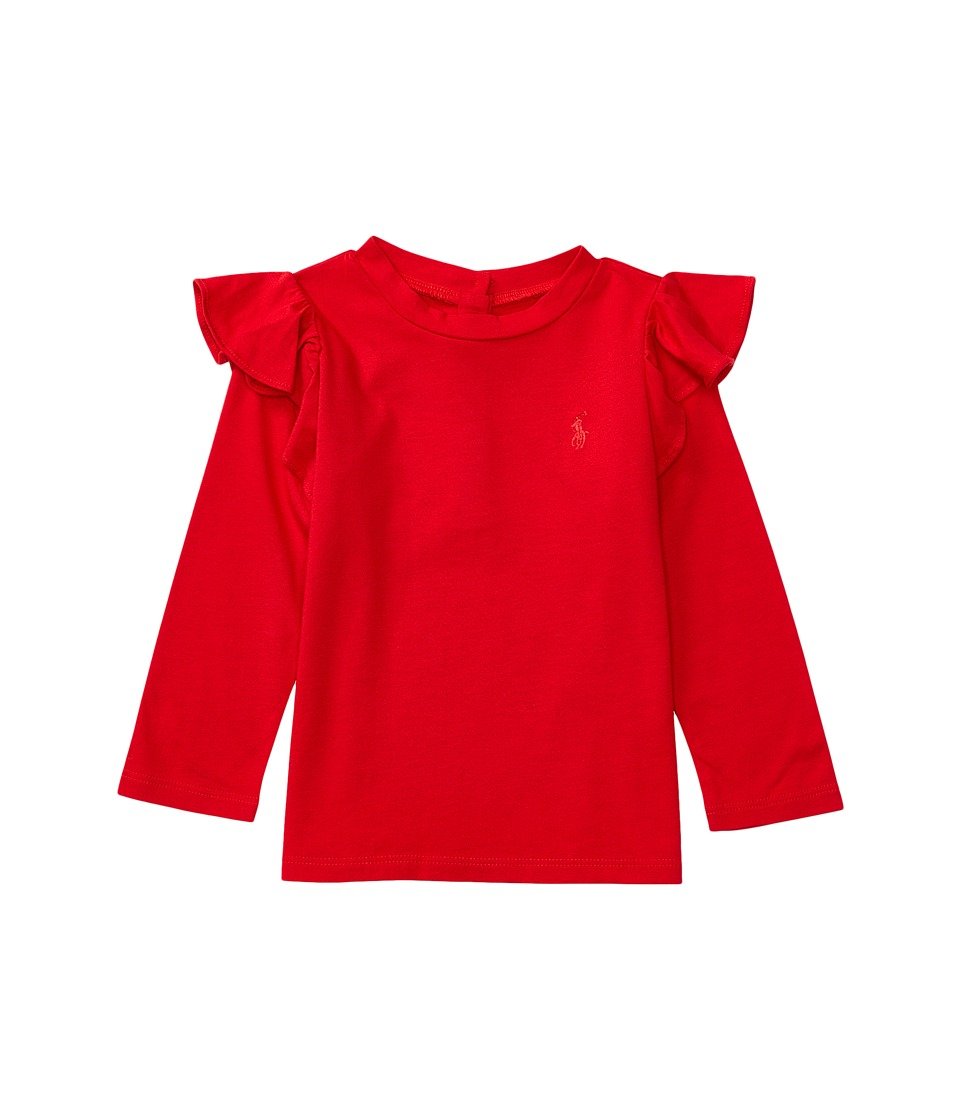 Ralph Lauren Baby - Cotton Jersey Ruffle Knit Top (Infant) (Cruise Red) Girl's Long Sleeve Pullover