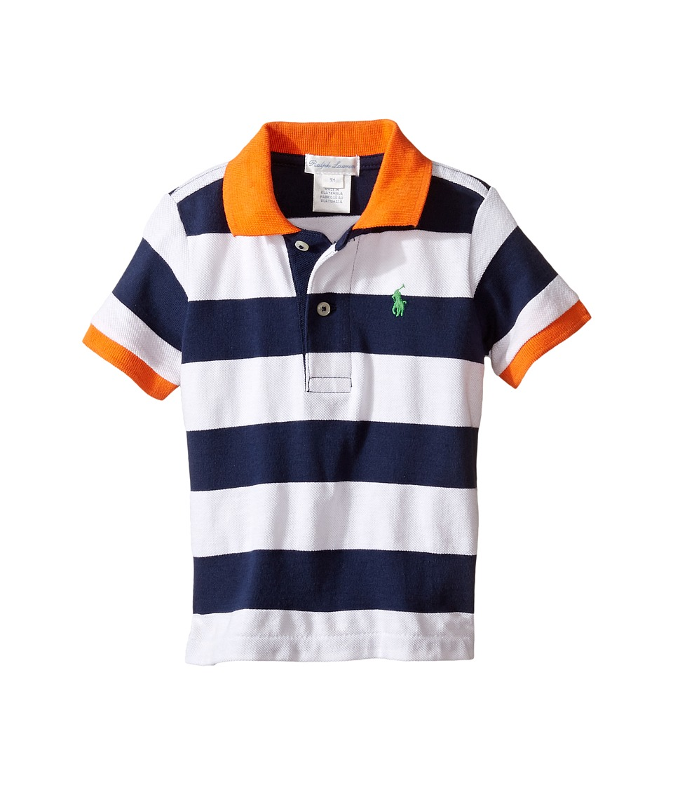 Ralph Lauren Baby - Yarn-Dyed Mesh Stripe Polo Top (Infant) (White Multi) Boy's Short Sleeve Pullover