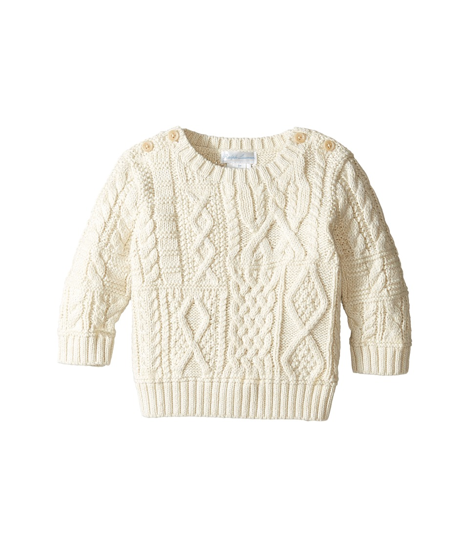 Ralph Lauren Baby - Combed Cotton Cable Patch Sweater (Infant) (Cream) Boy's Sweater